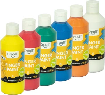 Creall gouache au doigt Happy, set de 6 flacons de 250 ml en couleurs assorties
