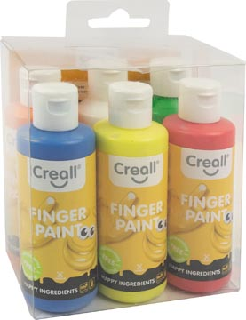Creall gouache au doigt Happy, set de 6 flacons de 80 ml en couleurs assorties