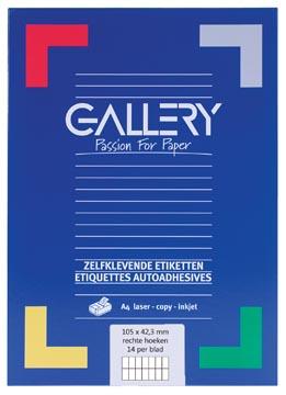Gallery étiquettes blanches, ft 105 x 42,3 mm (l x h), coins carrés, 14 par feuille