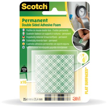 Scotch Pastilles mousse carrées permanent, blister de 16 pièces