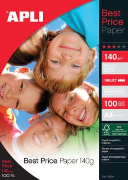Apli papier photo Best Price ft A4, 140 g, paquet de 100 feuilles