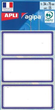 Agipa étiquettes écoliers ft 75 x 34 mm (l x h), 24 étiquettes par étui, bord bleu