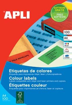Apli Etiquettes colorées ft 105 x 148 mm (l x h), vert, 80 pièces, 4 par feuille, pochette de 20 feuilles