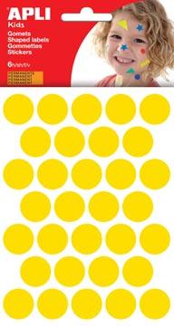 Apli Kids gommettes, cercle diamètre 20 mm, pochette de 180 pièces, jaune