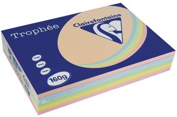 Trophée papier couleur Pastel A4, 160 g 5 x 50 feuilles, couleurs assorties