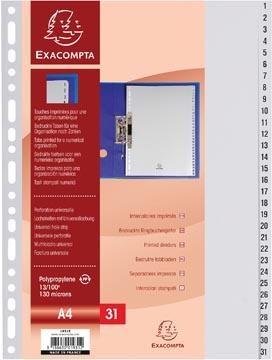 Exacompta intercalaires numérique pour ft A4, en PP, 31 onglets, gris