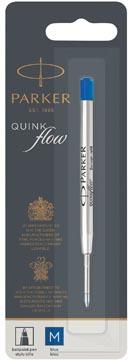 Parker Quinkflow recharge pour stylo bille, pointe moyenne, bleu, sous blister