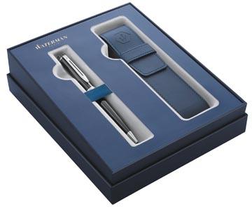 Waterman boîte cadeau stylo à bille Expert black avec détail en palladium + etui bleu