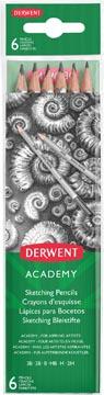 Derwent crayon graphite Academy , paquet de 6 pièces: 3B-2B-B-HB-H-2H