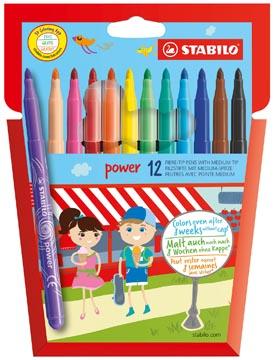 STABILO power feutre, étui de 12 pièces en couleurs assorties