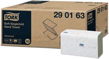 Tork essuie-mains en papier Advanced, 2 plis, 250 feuilles, système H3, blanc, paquet de 15 pièces