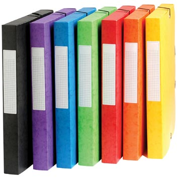 Pergamy boîte de classement, dos de 4 cm, couleurs assorties