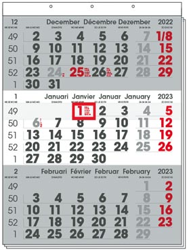 Calendrier trimestriel Compact, 2022