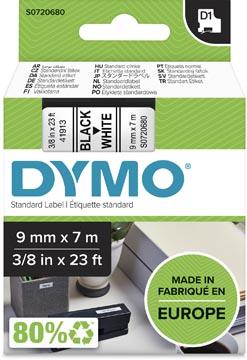 Dymo D1 ruban 9 mm, noir sur blanc