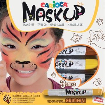 Carioca bâtons de maquillage Mask Up Animaux, boîte avec 3 bâtons