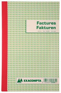 Exacompta facturier, ft 21 x 13,5 cm, bilingue, tripli (50 x 3 feuilles)