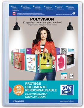 OXFORD Polyvision protège documents personnalisable, format A4, en PP, 20 pochettes, transparent