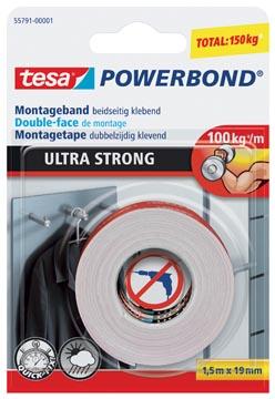 Tesa ruban adhésif Powerbond Ultra Strong, double face, ft 19 mm x 1,5 m, sous blister