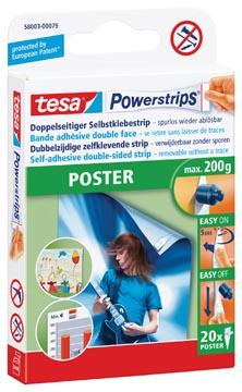 Tesa languettes adhésives Powerstrips Poster, charge maximum 200 g, blister de 20 pièces