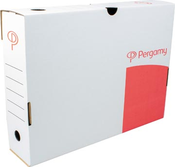 Pergamy boîte à archives, 8 x 25 x 33 cm (l x h x p), blanc, montage manuel
