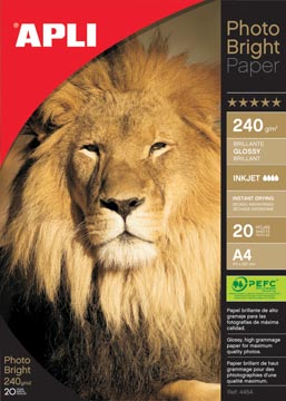 Apli papier photo Photo Bright ft A4, 240 g, paquet de 20 feuilles