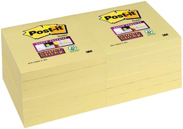 Post-it Super Sticky notes, ft 76 x 76 mm, jaune, 90 feuilles, paquet de 12 blocs
