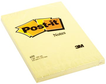 Post-it Notes, ft 102 x 152 mm, jaune, bloc de 100 feuilles