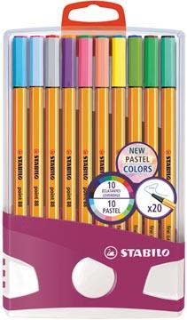 STABILO fineliner point 88, pastel, Colorparade, étui de 20 pièces en couleurs assorties