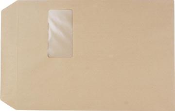 Pergamy pochettes kraft 90g, ft: C4 229x324mm, fenêtre ft 50x100mm, autocollantes, brun, boîte 250 pièces
