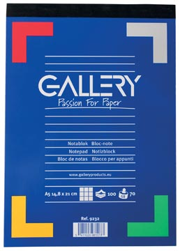 Gallery bloc de notes, ft A5, quadrillé 5 mm