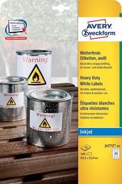 Avery Zweckform J4773-10 étiquettes ultra résistantes ft 63,5 x 33,9 mm (b x h), 2.400 étiquettes, blanc