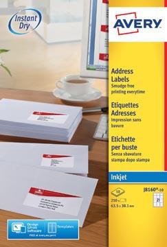 Avery J8160-10 étiquettes adresse ft 63,5 x 38,1 mm, 210 étiquettes, blanc