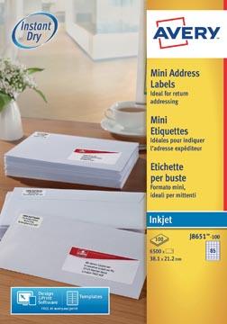 Avery étiquettes blanches QuickDry ft 38,1 x 21,2 mm (l x h), 6.500 pièces, 65 par feuille