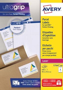 Avery L7166, Etiquettes d'expédition, Laser, Ultragrip, blanches, 100 pages, 6 per page, 99,1 x 93,1 mm