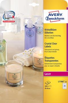 Avery étiquettes transparentes Crystal Clear diamètre 40 mm, 600 étiquettes, 24 par feuille