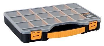 Perel boîte à outils avec 18 sections, noir/jaune