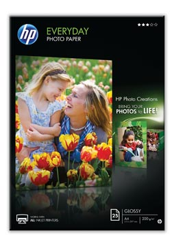HP Everyday papier photo, ft A4, 200 g, paquet de 25 feuilles, brillant