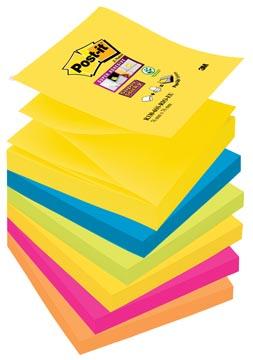 Post-it Super Sticky Z-Notes Rio, ft 76 x 76 mm, couleurs assorties, 90 feuilles, pacquet de 6 blocs