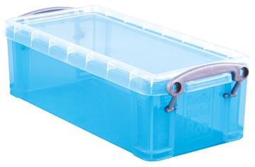 Really Useful Box 0,9 litres, bleu vif transparent