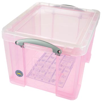 Really Useful Box boîte de rangemen 35 litres, rose transparent